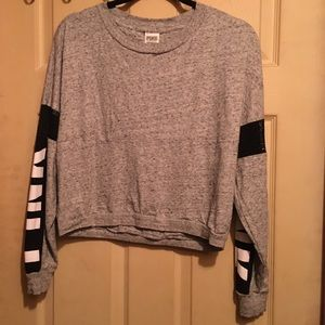 Grey PINK crop top crew neck